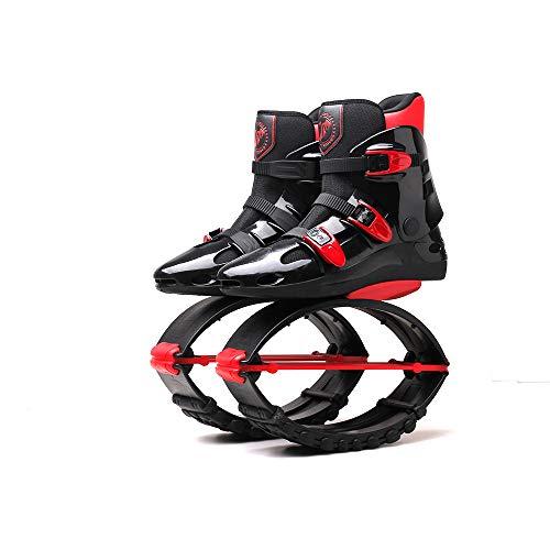 Erwachsene Frau Mann Kangoo Jumps Running Boots Anti-Gravity Bouncing Schuhe Jumping Shoes Gewichtsbelastung Range70-90KG, Schwarz/Rot