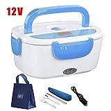Carro del coche eléctrico almuerzo caja del calentador comida caliente recipiente de almacenamiento de acero inoxidable vajilla fiambrera mochila, 24V Blue- Vajilla BTZHY ( Color : 12v Blue Bag Set )
