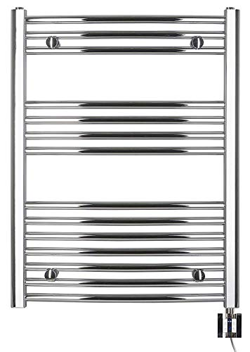 anapont Radiatore elettrico da bagno – cromato curvo – Funzione timer – Riscaldatore per asciugamani elettrico – Made in Germany