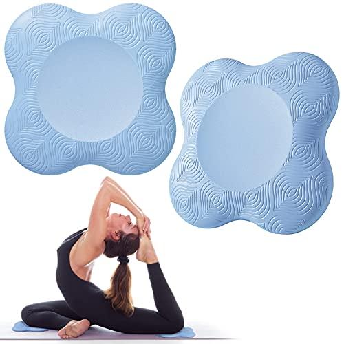 Bigmeda 2Pedazo Almohadilla Rodillera Yoga,Esterilla Yoga Antideslizante,Rodillera de Yoga para Mujer,Yoga Mat Protectora Rodilla, el Tobillo, el Codo y la Mano (Azul claro)