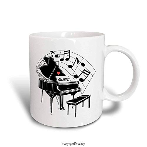 WYYCLD Funny Coffee Mug Black Piano with Dancing Notes N Love Music on It Ceramic Mug, 11 oz, White by