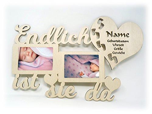 Baby Wand Bilderrahmen mit Namen und Geburtsdaten Endlich ist er I sie da Geschenke zur Geburt Geschenke für das Babyzimmer erstes Jahr Babygeschenke für Junge und Mädchen (Mädchen)