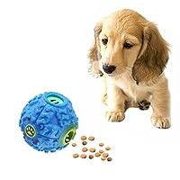 ペットフードディスペンサースクイイクギグルクワクックサウンドトレーニングおもちゃ咀嚼ボール、サイズ:L、ボールの直径:11.5cm(青) 2021新しいもの