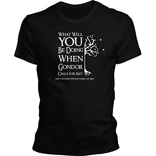 DragonHive Herren T-Shirt Herr der Ringe Shirt LOTR What Will You Do When Gondor Calls for Aid?, Größe:XXL, Farbe:Schwarz