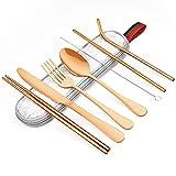 EKKONG Cubiertos de viaje y camping, de acero inoxidable con funda de fieltro, juego de cubiertos de 7 piezas con cuchara, cuchillo, tenedor, palillos, 2 pajitas, cepillo de limpieza (oro rosa)