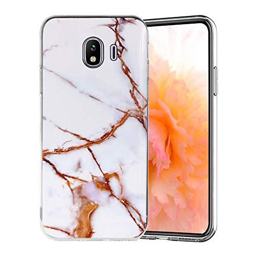 Misstars Coque en Silicone pour Galaxy J4 2018 Marbre, Ultra Mince TPU Souple Flexible Housse Etui de Protection Anti-Choc Anti-Rayures pour Samsung Galaxy J4 2018, Blanc Or