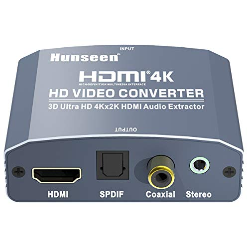 HDMI Audio Extractor, Hunseen HDMI to HDMI and Optical TOSLINK SPDIF Coaxial + 3.5mm Stereo Audio Converter with ARC and 5.1 Channel, Support HDMI 1.4 HD 4K X 2K@30Hz