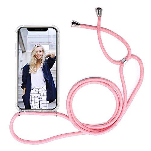 ShinyZone Cordon Coque Compatible avec Samsung Galaxy Note 10 Pro-Housse en Rigide Transparent avec Réglable Collier Tour de Cou,Coque de Téléphone Portable avec Smartphone Sangle,Rose