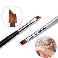 2本のフレンチチップネイルブラシシルバーブラックハンドルデザインハーフムーンシェイプアクリルUVジェル塗装ペン
