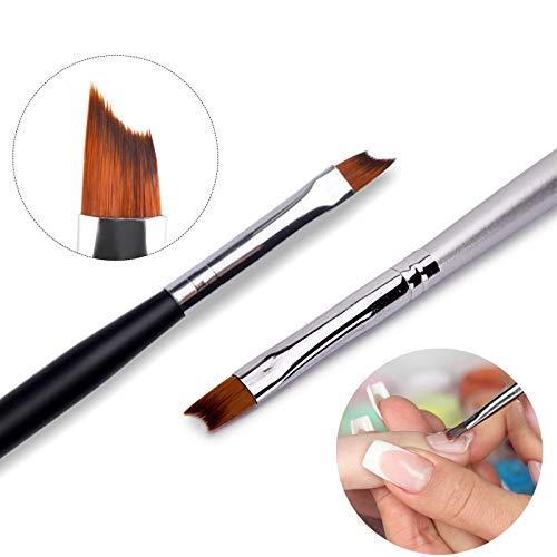 Artlalic - Pincel para diseño de uñas, punta con forma de media luna para manicura francesa, mango negro y plateado, acrílico, gel UV, herramienta de manicura y arte de uñas, 2 unidades