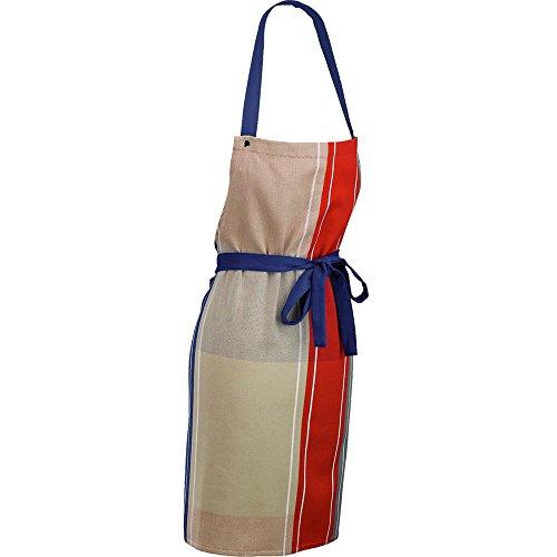 kela Tablier Frida avec Motif carré 80x67cm en Coton, Rouge/Bleu/Beige, 80x67x2 cm