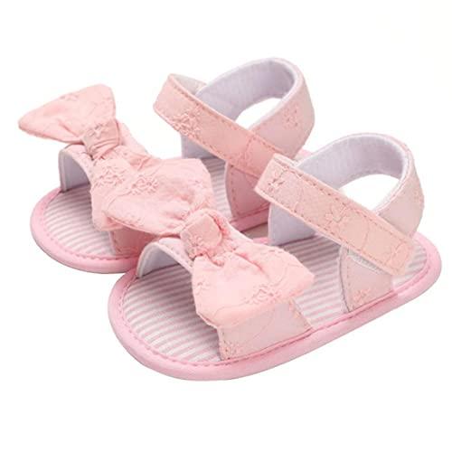 Yililay Zapatos niña de Las Sandalias del Bowknot de algodón Suave Verano Antideslizante Zapatillas para 6-12M niño recién Nacido Rosa
