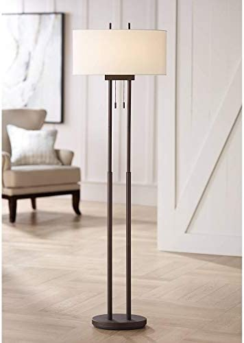 Roscoe Modern Contemporary Style Tall Standing Floor Lamp Twin Pole Oil Rubbed Bronze Metal product image