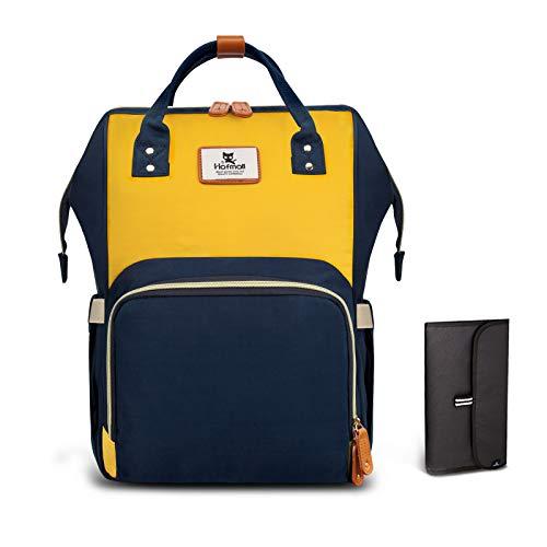 Hafmall Mochilas para Pañales de Viaje de Múltiples Funciones a Prueba de Agua Bolsos Cambiadores de Botella Bolsillos para El Cuidado del Bebé, Moda Macaron (Navy Blue-Yellow)