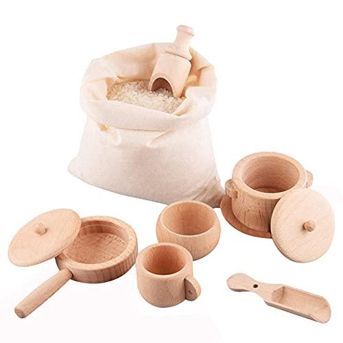 Xzbling Barnköksleksak, trä kök rollspel tillbehör leksaker köksredskap leksak mat lekset, inklusive träkruka, bricka, kopp, skål, sked och bomullspåse