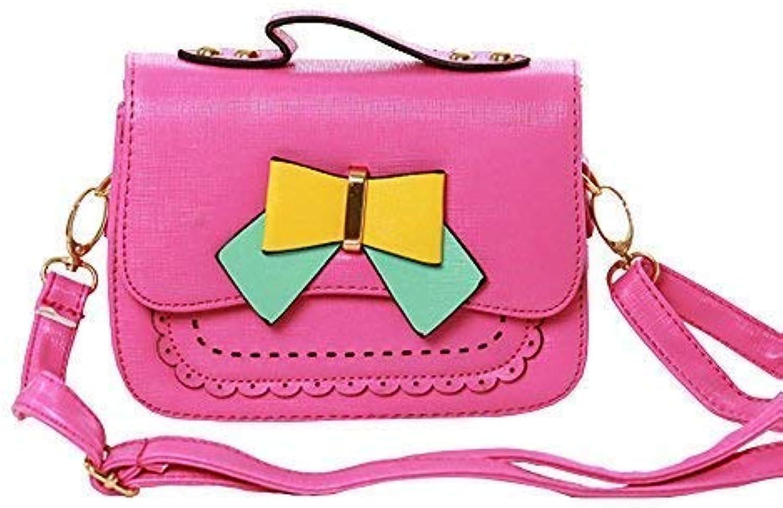 Pinky Family Little Girl Kid Bowknot Handbag Messenger Shoulder Purse Bag (pink red)