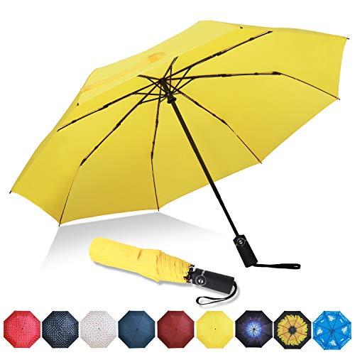 Eono by Amazon - Regenschirm Taschenschirm Kompakter Falt-Regenschirm, Winddichter, Auf-Zu-Automatik, Teflonbeschichtung, Verstärktes Dach, Ergonomischer Griff, Schirm-Tasche, Gelb