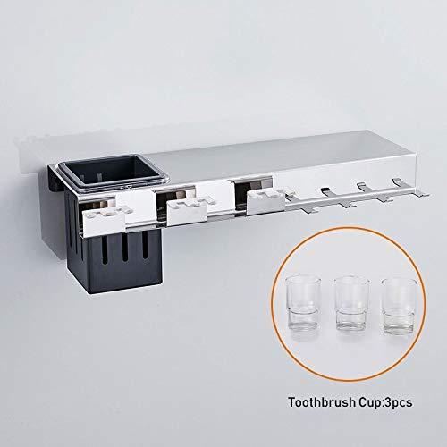 Eye eye Porte-Tasse Monobloc en Acier Inoxydable 304, Support pour Tasse De Bain De Bouche en Verre en Acier Inoxydable, Porte-Tasse De Bain De Bouche pour Toilette (Color : Silver)