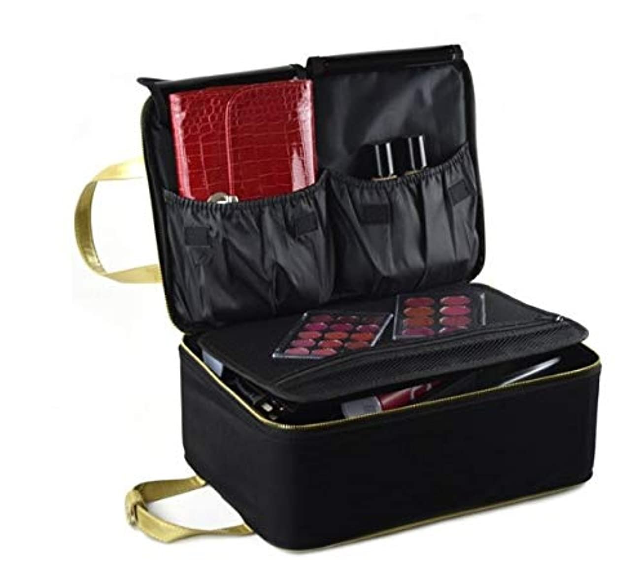 シマウマエピソード著者化粧箱、黒い携帯用化粧品の箱、携帯用旅行化粧品の箱、美の釘の宝石類の収納箱 (Size : S)