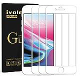 ivoler 3 Unidades Protector de Pantalla para iPhone 8 Plus/iPhone 7 Plus, [Cobertura Completa] Cristal Vidrio Templado Premium, [Dureza 9H] [Anti-Arañazos] [Sin Burbujas] - Blanco