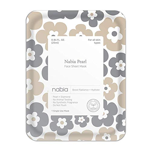 Nabia Pearl Face Sheet Mask, white,…