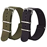 Vetoo Nylon Replacement Watch Band, Black & Army Green, 22mm