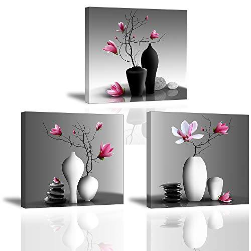 Piy Painting 3X Wandbild Leinwanddrucke Bilder Blumen Orchidee Wandbild Dekoration, Blumen Bilder auf Leinwand, Fotoleinwand und Kunstdrucke auf Wanddeko für Wohnzimmer Küche Weihnachten 30x30cm