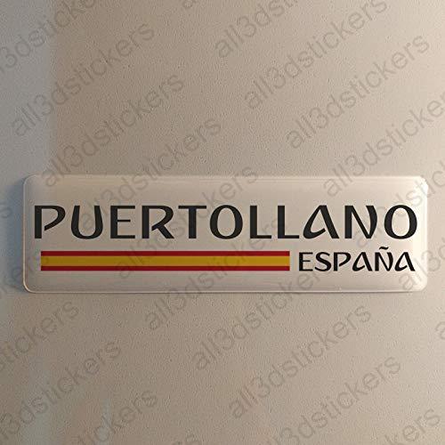 Pegatina Puertollano España Resina, Pegatina Relieve 3D Bandera Puertollano España 120x30mm Adhesivo Vinilo