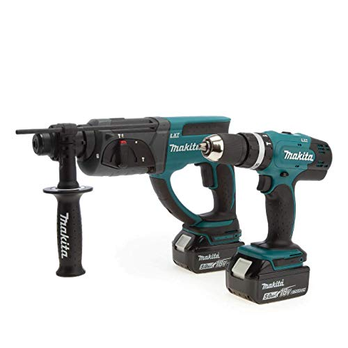 Makita DLX2025T 18V LXT Twin Pack-DHP453 Combi Drill + DHR202 Rotary Hammer (2 x 5.0Ah Batteries), 18 V, Blue/Black