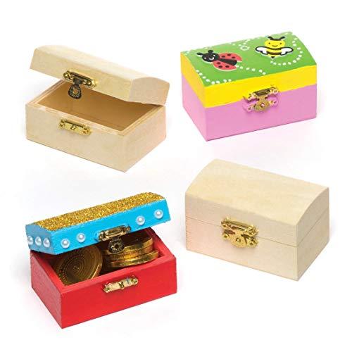 Baker Ross Mini-Schatztruhen aus Holz - zum Bemalen und Dekorieren für Kinder - Kästchen zur Aufbewahrung (4 Stück)