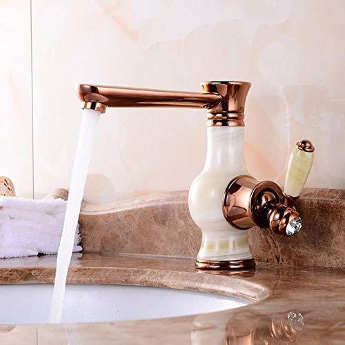 Cuenca Grifos de oro Acabado grifo monomando de lavabo cubierta monte baño de oro rosa del fregadero grifo Grifo de baño Torneiras, subió jade de oro