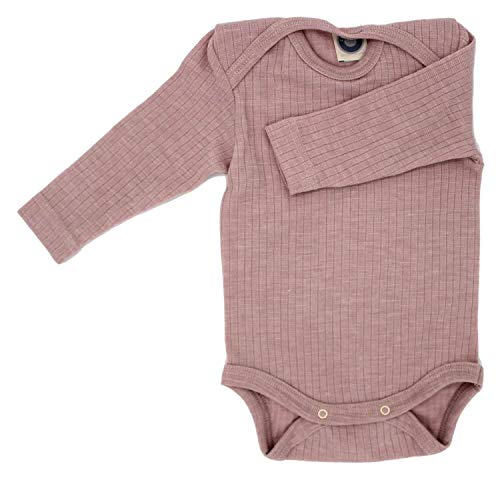 Cosilana Baby Body 1/1 Arm, Größe 62/68, Farbe Pink Meliert - Exclusiv Wollbody®GmbH - Qualität 91 45% Baumwolle kbA, 35% Schurwolle kbT, 20% Seide
