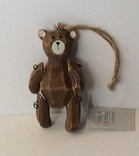 Gisela Graham Décoration sapin de Noël en bois Joint en bois ours en peluche