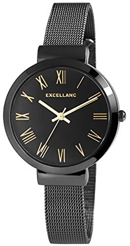 Excellanc Reloj de mujer con pulsera de melanesa, negro, oro rosa, analógico, de cuarzo, números romanos.