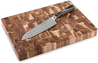 Cuchillo de Cocina Santoku Sakura (17 cm) & Tabla para Cortar de Madera de Acacia (35cmx25cmx 3cm) Cuchillo cebollero estilo Japonés de Acero inoxidable con Hoja Dentada y Tabla de Cortar Cocina