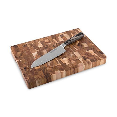 Santokumesser-Set 17 cm mit Akazienholz Schneidebrett Sakura 2-tlg. Kochmesser japanischer Art aus Edelstahl mit Kullenschliff und robustem Echtholz Schneidbrett