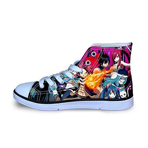 Fairy Tail Sneakers Kinderschuhe leichte Trainer-Schuhe Schuhe Hoch-Spitze Schuhe Bequeme Flache Schuhe Leinenschuhe (Color : A08, Size : EU31 US2M)