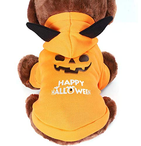 SKLOER Halloween Pumpkin Pet Costumes for Dogs Funny Holiday Party Dresses Soft and Breathable Cute Cats and Dogs Clothing for Small and Medium Size Dogs and Cats Shirt M