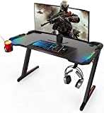 【Generation Z】This new design desk complements well with your gaming space and adds a charismatic aura. They say, a game is half won with a great setup. The mysterious RGB illumination adds a cool ambience (powered by USB port). 【Sturdy & Steady Cons...