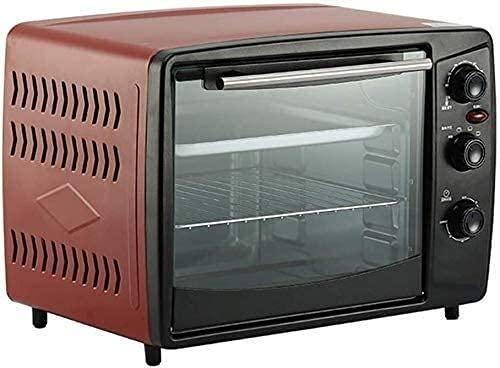 Mini Horno eléctrico 32 l,Horno multifunción silencioso para Hornear en el hogar,Temperatura Ajustable 100-220 ℃ y Temporizador 60 Minutos,Horno Tostador encimera (Color:Rojo)