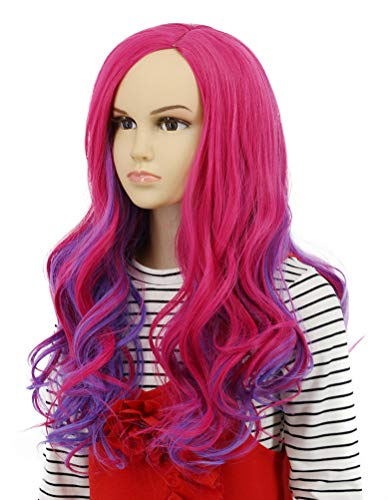 Karlery Kids Child Long Wave Pink and Purple Cosplay Wig Halloween Costumes Anime Party Wig(Kids)