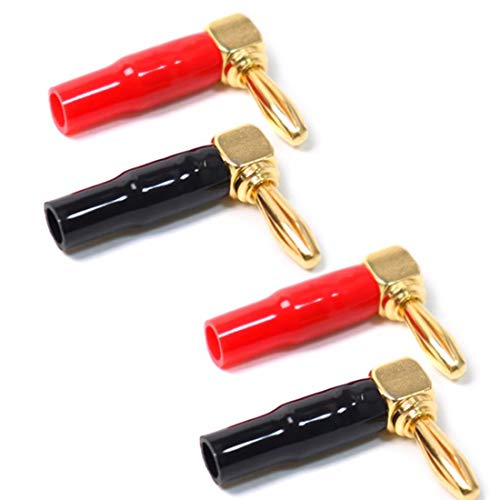 2 Pair 4mm Pure Copper Plated 24K Gold Banana Plug Connector Red+Black 90 Degree Amplifier Speaker Terminal Binding Post Banana Socket Connector (90 Degree)