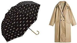【セット買い】ワールドパーティー(Wpc.) 雨傘 長傘 グリーン 58cm レディース ジェラートリボン 78479-09 BK+レインコート ポンチョ レインウェア ベージュ FREE レディース 収納袋付き R-1109 BE