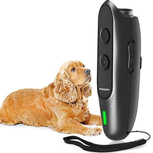 POIIOPY Anti Bell Gerät für Hunde mit Variabler Frequenz, Ultraschall Hunde Bell Abschreckung, Wiederaufladbar 2-in-1 Hunde Bell Kontrollgerät, Sicher Hundetraining, Verhaltenstrainer, 5m Reichweite