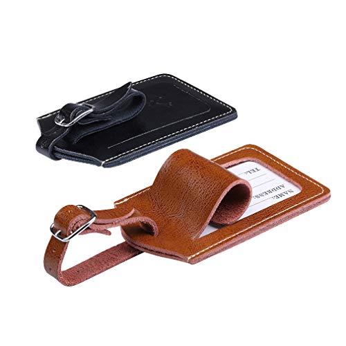 Etiquetas para equipaje, juego de etiquetas de cuero personalizadas para maleta de equipaje, etiquetas de identificación para equipaje, accesorios de viaje Brown+black Large
