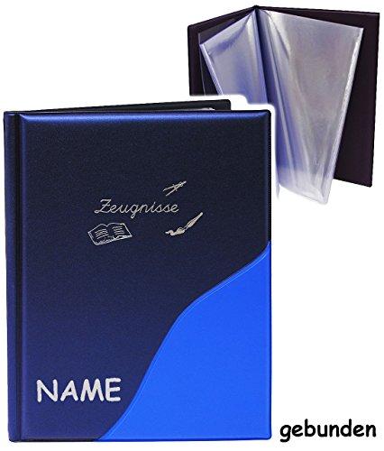 alles-meine.de GmbH A 4 - Zeugnismappe / Dokumentenmappe -  Zeugnisse  _  Metallic Effekt - blau  - incl. Name - GEBUNDEN mit festen Seiten - Softcover - für Kinder und Erwac..