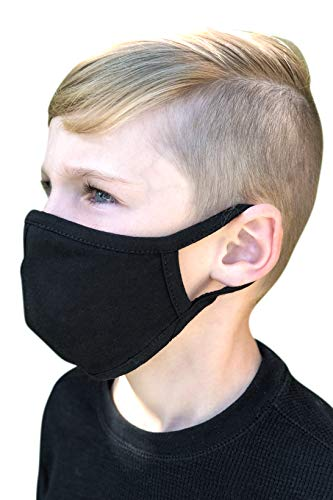 Made in USA Washable Cotton Face Mask with FILTER POCKET UNISEX Children (Set of 3), Black
