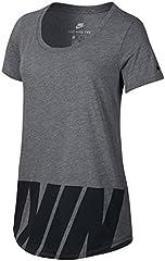 Nike Womens Camiseta de Manga Corta Gris para Mujer