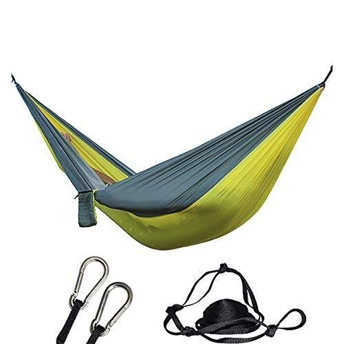 ZUQIEE Hammock Camping Hammock - Portable Lightweight Double Adult Hanging Sleeping Bed with Straps and Carabiner for Garden Outdoor Travel Hunting(Light Yellow+Grey)