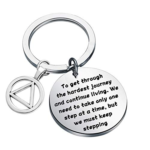 Sobriety Gifts AA NA Keychain AA Recovery Keychain Alcoholics Anonymous Keychain New Beginnings Jewelry AA Gifts Sobriety for Women (we must keep stepping UK)